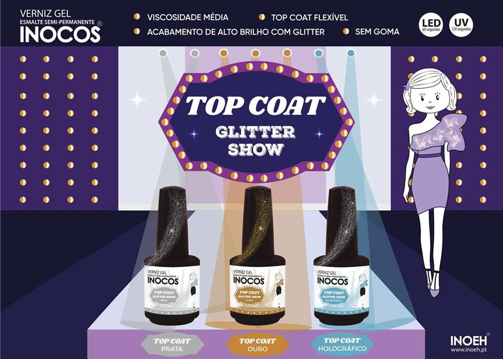 Verniz Gel  INOCOS Top Coat Glitter Show