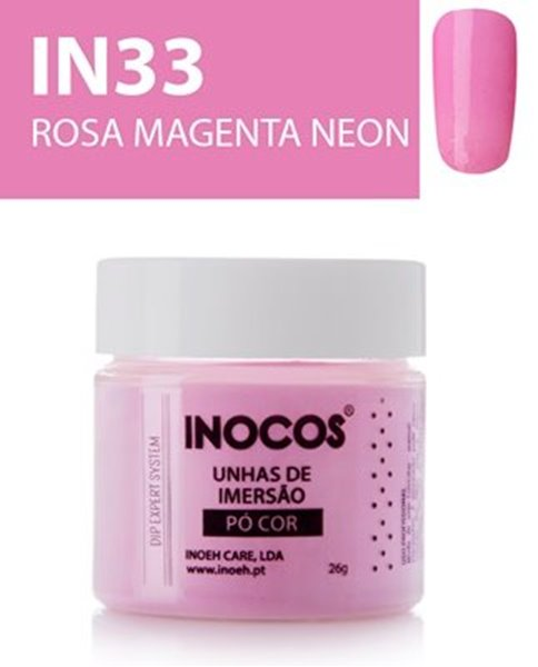 Picture of INOCOS PÓ UNHAS DE IMERSÃO DIPPING SYSTEM  IN32  ROSA MAGENTA NEON  26gr