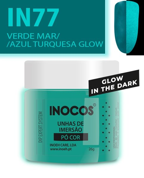 Picture of INOCOS PÓ UNHAS DE IMERSÃO DIPPING SYSTEM IN77 VERDE MAR AZUL TURQUESA GLOW 26gr