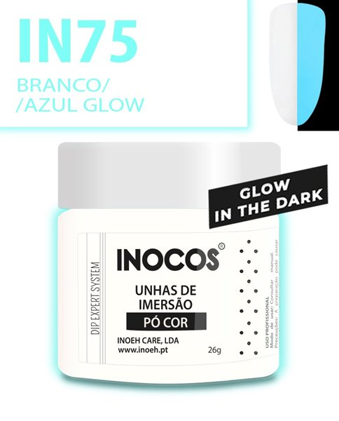 Picture of INOCOS PÓ UNHAS DE IMERSÃO DIPPING SYSTEM IN75 BRANCO AZUL GLOW 26gr