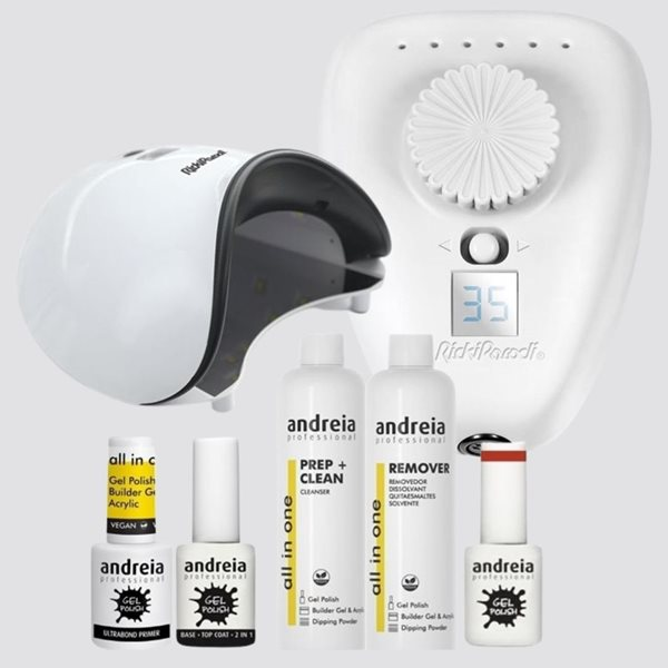 Picture of Kit Verniz Gel Andreia, com Catalisador Led Uv Rickiparodi Uviolet 365+405 e Broca Digital 35.000 RPM, para Unhas de Gel